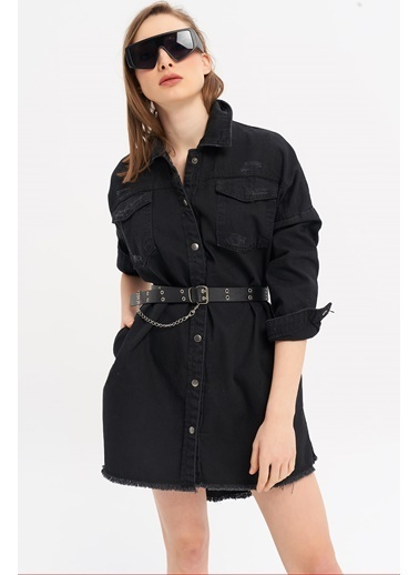 ESQ Siyah Çıtçıtlı Boyfrend Kot Ceket Siyah